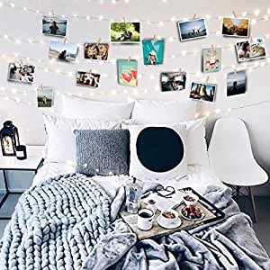 Favfactory 17ft photo clip string fairy lights - How to hang string lights on wall ...