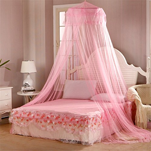 Academyus Elegent Princess Mesh Bed Netting Canopy Round Dome Hanging Mosquito Net Summer for Home Travel - Pink