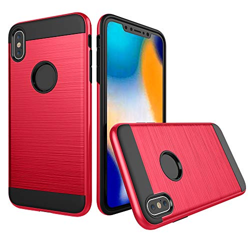 Rugged Equipment Leather Case - Ultrathin Slim Fiber Carbon Silicone Rugged Case Cover for iPhone XS MAX/XS /Xr (RED, iPhone XS MAX)