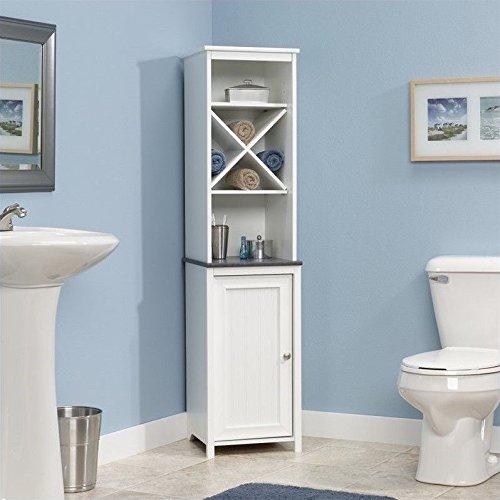 Sauder Linen Tower Bath Cabinet, Soft White Finish (White Bathroom Cabinet)