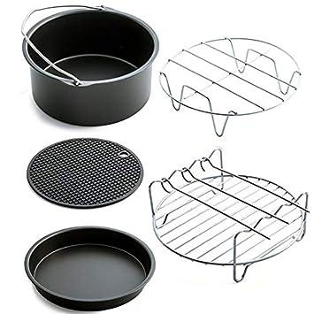 Mimagogo - Juego de 5 piezas de accesorios para freidora de aire, cesta para hornear, parrilla para pizza: Amazon.es: Hogar