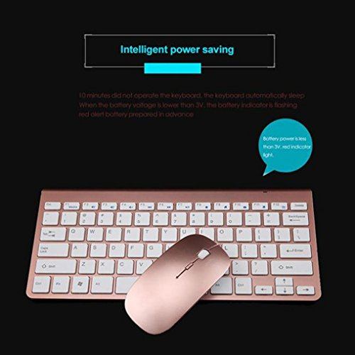 Price comparison product image Boofab Wireless Keyboard and Mouse Combo - 2.4G Portable Wireless Keyboard Mouse with Rechargeable Battery,  Ergonomic Design,  Full Size,  Slim & Thin,  Stable Connection,  Adjustable DPI (Rose Gold)
