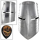 Menacing Steel Medieval Iron Cross Helmet Crusader Riveted Great Helm