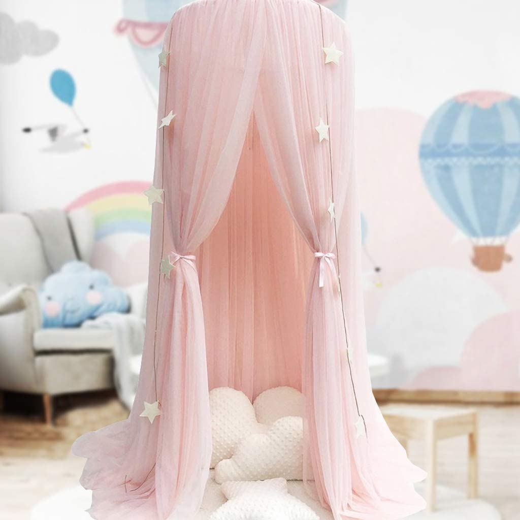Princess Bed Canopy Mosquito Net Nursery Play Room Decor Dome Premium Yarn Netting Curtains Baby Game Dream Castle Grey Bed Canopy for Girls