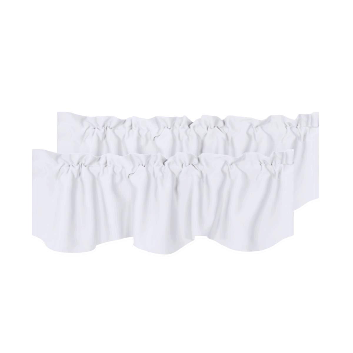 H.VERSAILTEX Privacy Protection Kitchen Valances for Windows Room Darkening Curtain Valances for Bedroom, Rod Pocket Top, 2 Pack, Pure White, 52 x 18 Inch