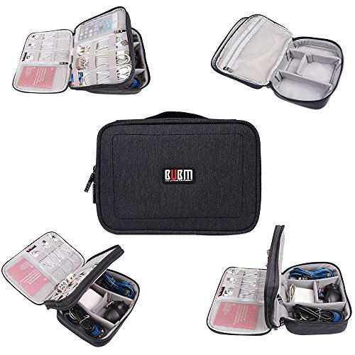 BUBM Cord Organizer, Adjustable Electronics Accessories Bag for Adaptors, Chargers, Cables, Plugs, Lens, Memory Cards, CF Cards and More-Fits for iPad, Travel Gadget Case (Large, ()