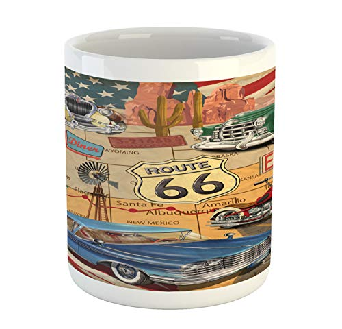Lunarable Route 66 Mug, Old Fashioned Cars Motorcycle on A Map Road Trip Journey American USA Concept, Printed Ceramic Coffee Mug Water Tea Drinks Cup, Multicolor ()