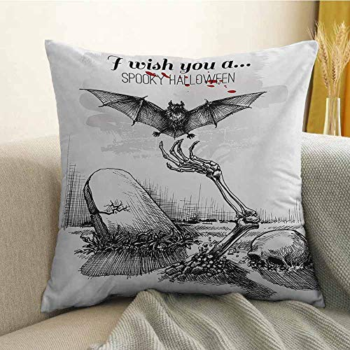 FreeKite Halloween Silky Pillowcase Dead Skull Skeleton Out of The Grave and Flying Bat Hand Drawn Spooky Picture Super Soft and Luxurious Pillowcase W16 x L16 Inch Black White