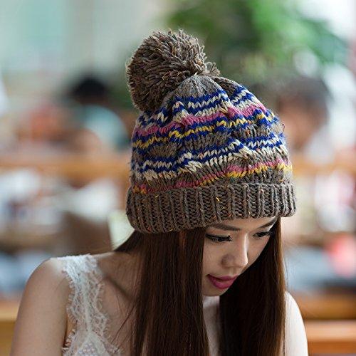 de de Punto otoño de Colores versión Invierno Maozi para Curling Beige Lana Damas Mezclados COFFEECOLOR Tapa Coreana 7zIPxp