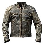 Men's Black Vintage Distressed Retro Motorcycle Biker Leather jacket - Antique