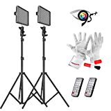 2 * Aputure HR672C High CRI LED Video Light Wireless Remote Control Adjustable Color Temperature + 2M(6.5ft) Light Stand