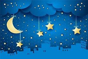 10x7ft Cartoon Modern City Skyline Twinkling Stars Radial Striped Vinyl Photography Background Child Kids Baby Adult Portrait Shoot Backdrop Baby Shower Studio Props