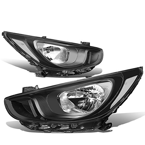 (For Accent RB 4th Gen Pair of Black Housing Clear Corner Headlights Lamp)