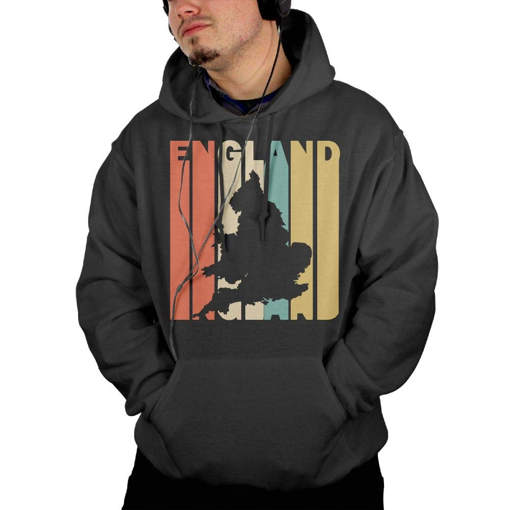 Warm 100/% Cotton Sports Pullover with Pocket for Men Mens Retro Style England Silhouette Pullover Hoodie