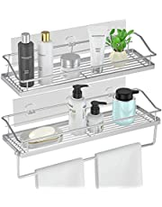 Orimade Adhesive Shower Caddy Organizer Shelf with Towel Bar Rail, Bathroom Shelf Storage, Kitchen Spice Rack Rustproof Wall Mounted No Drilling, 2 Pack