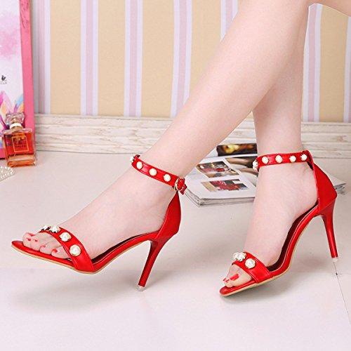 GRRONG Zapatos De Tacón Alto De Las Mujeres Moda De La Perla Fina Con Sandalias De Cabeza Cuadrada De Tacones Altos Red