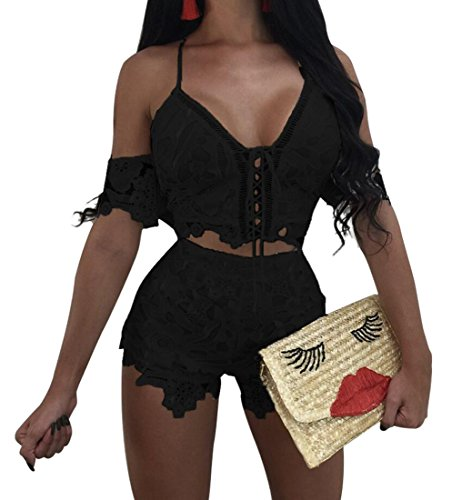 WAYA Womens Sexy Halter Lace Cop Top & Hot Short Clubwear Outfits Black -