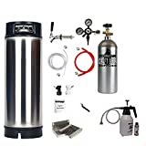 HomeBrewStuff Ultimate Single Tap Kegerator Conversion Kit with New Ball Lock Keg, Pro Regulator, and CO2 Tank
