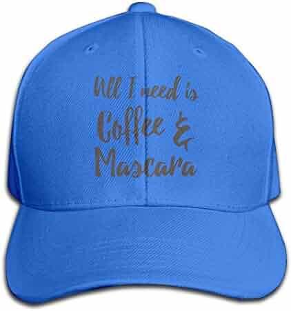4b7a582c063 Cool All I Need is Coffee Mascara Baseball Cap Fishing Caps Peaked Hats  Black