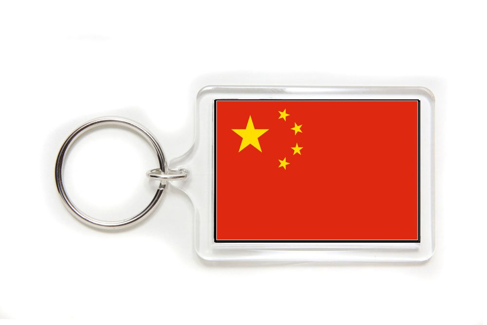 China Chinese Flag Double Sided Acrylic Key Ring Small