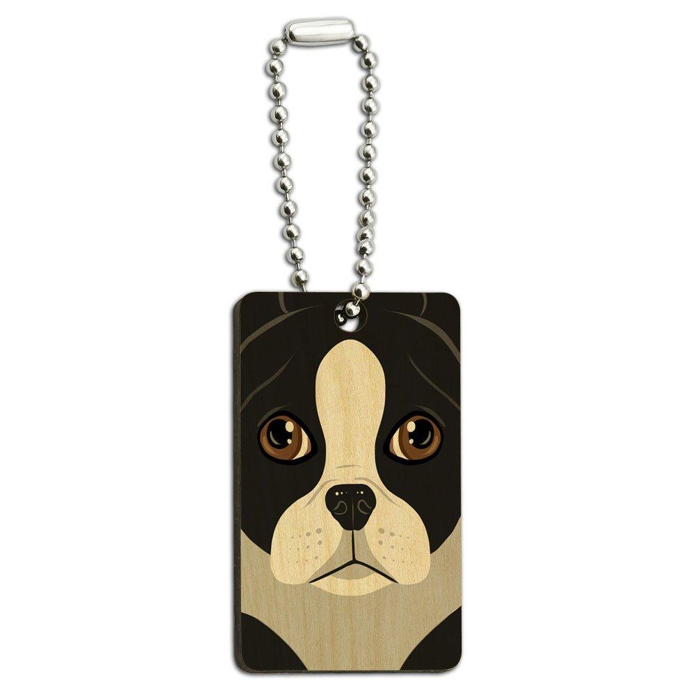 Boston Terrier Dog Pet Wood Wooden Rectangle Key Chain