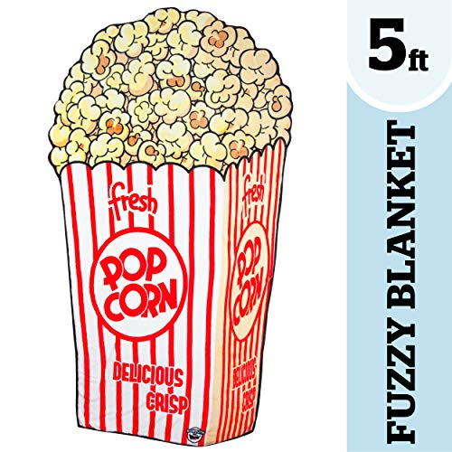 BigMouth Inc. Popcorn Fuzzy Blanket - 5 ft. Plush Throw Blanket Shaped Like Movie Theater Popcorn, Perfect for Cold Nights, Camping, and More