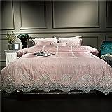 Lotus Karen Romantic French Lace Ruffles Korean Bedding Set For Girls Wedding Bedding Full Light Pink 4PC Cotton Duvet Cover Set,1Duvet Cover,1Flat Sheet,2Pillowcases King Queen Size