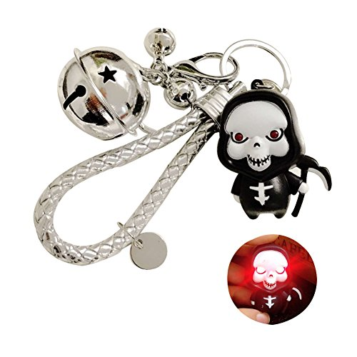TSJ LED Vocal Imp Grim Reaper Braided Strap Jingle Bells Decorated Snap Hook Lobster Claw Clasp Key Chains for Home Car Key Organizing, Halloween Party Supplies ()