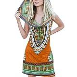 Women Boho Hooded Tunic Dress,Lady Summer Fashion Sleeveless Vintage Print Mini Beach Dresses (Large, Orange)