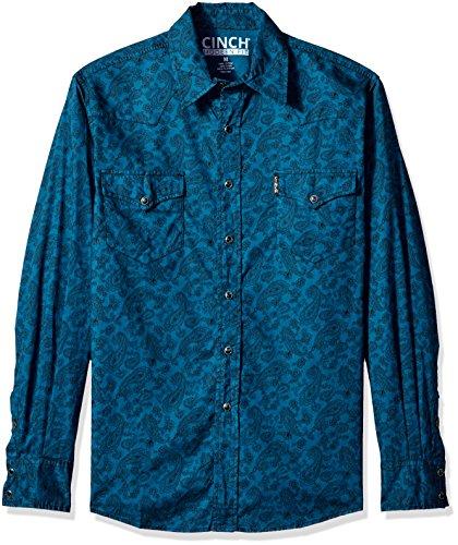 Cinch Men's Modern Fit Long Sleeve Snap Two Flap Pocket Print Shirt, Dark Blue, (Flap Pocket Shirt)