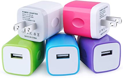 Ehoho 6 Pack Single Port Charging Block USB Wall Charger Compatible for iPhone XR Xs XS Max X 8 7 6 6S Nexus Samsung S10+ S10e S10 S9 S8 S9 S7 Power Adapter LG Moto,Google Pixel