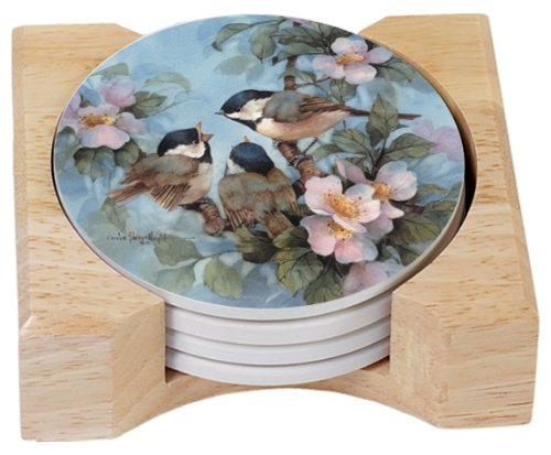 (CounterArt Chickadees Design Round Absorbent Coasters in Wooden Holder, Set of 4)