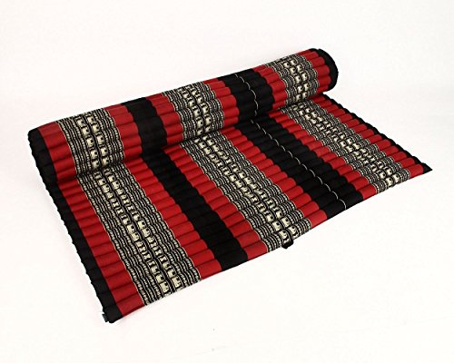 Design by UnseenThailand Roll Up Thai Mattress, Kapok Fabric, Premium Double Stitched, 79x63x2 inches. (Black - Red) by UnseenThailand Warehouse