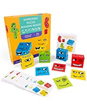 Decoe Wooden Expression Puzzle Face-Changing Building Block Logical Thinking Training Block Parent-Child Table Game for Boys & Girls Age 3+