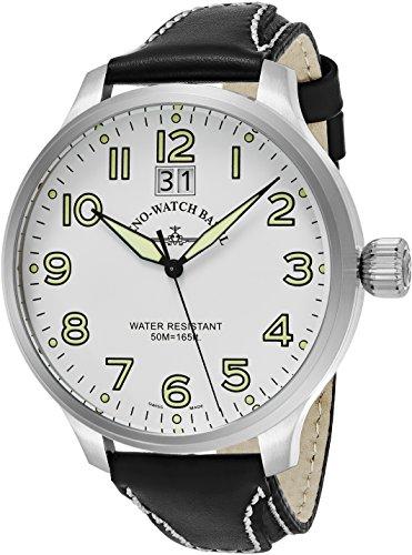Zeno Men's 55MM Oversized White Face Date Swiss Quartz Mens Black Leather Watch 6221-7003-A2