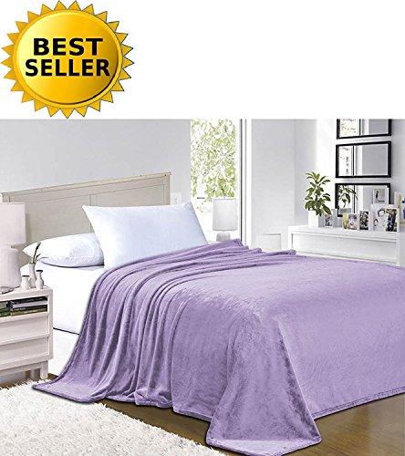 Elegant Comfort #1 Fleece Blanket on Amazon - Super Silky Soft - Sale - All Season Super Plush Luxury Fleece Blanket King/Cal King Lilac