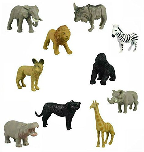 12 Small Safari Animals Jackal Giraffe Elephant Antelope Gnu Zebra Panther Warthog Lion Gorilla Hippopotamus Rhinoceros Wildlife Zoo Set of Wild African Figure Plastic Playset ()