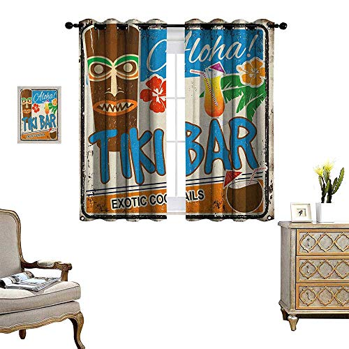 (Warm Family Tiki Bar Room Darkening Wide Curtains Rusty Vintage Sign Aloha Exotic Cocktails and Coconut Drink Antique Nostalgic Decor Curtains by W63 x L63 Multicolor)