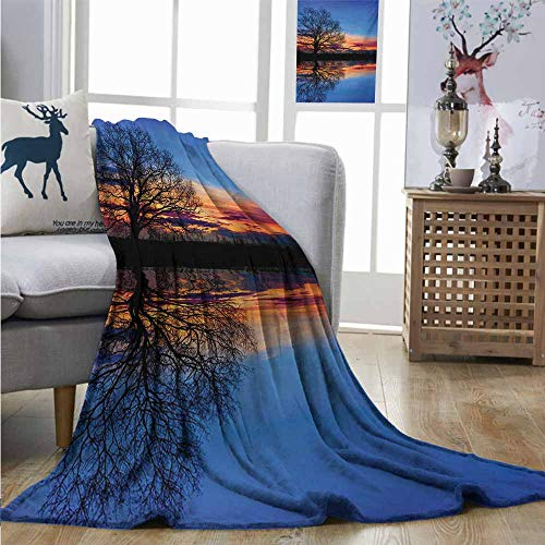 Degrees of Comfort Weighted Blanket Nature Majestic Full Branch Tree at Twilight with Water Reflection Out Magical Nature View Lightweight Thermal Blankets W54 xL72 Blue Orange