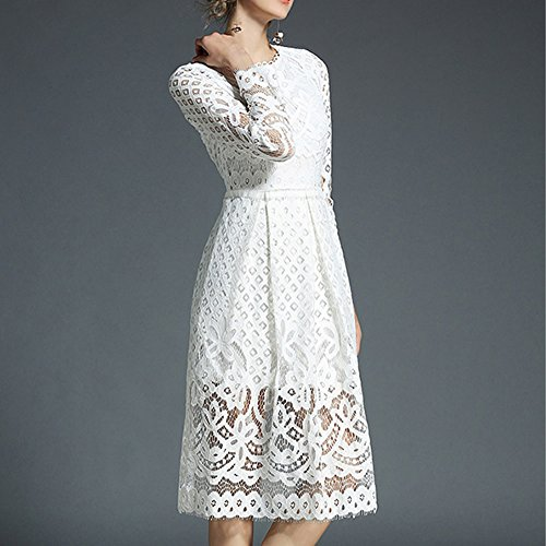 Solid White Lace Dress Hollow YL18609 DISSA A Long Women Line Sleeve Midi Evening Party E1fYqF6O