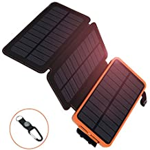 AZOT 12000mAh Solar Charger Power Bank Waterproof Portable External Battery Backup with Dual USB for Android iPad iPhone Cellphones, LED Flashlight with Compass for Emergency (Orange(2 Panels))