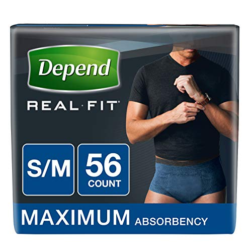 Depend Real Fit Incontinence Briefs for Men, Maximum Absorbency, S/M, Blue, 56 Count ()