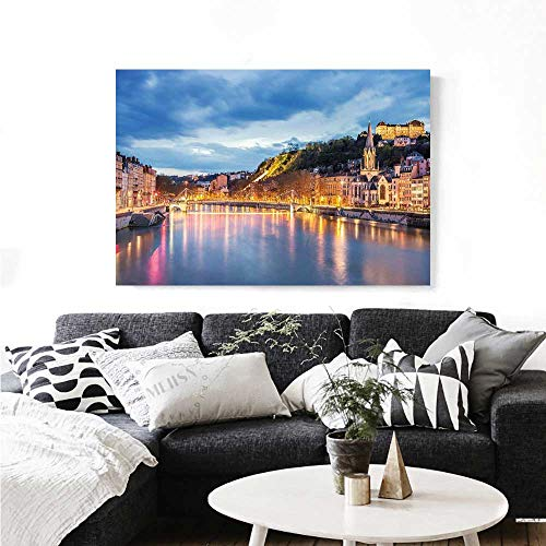 European Wall Art Canvas Prints View of Saone River in Lyon City at Evening France Blue Hour Historic Buildings Ready to Hang for Home Decorations Wall Decor 32