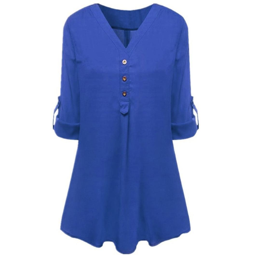 Damen Tops Bluse Langarm SUNNSEAN Frauen Langarmshirts V-Ausschnitt T-Shirt Chiffon Bluse Oberteile Hemd Sweatshirt Streetwear Lose Einfarbig Pullover Tops