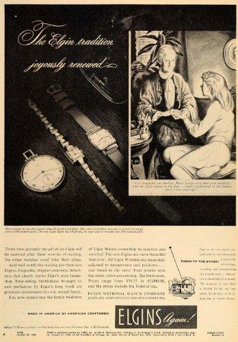 1946 Ad Elgin Watch Pocket Wristwatch Grandmother Lady - Original Print Ad