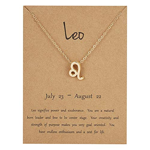 Clavicle Necklace, Fashion New Elegant Simple Twelve Constellation Metal Symbol Necklace for Ladies Girls,Leo