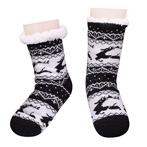Pantofole Sfilate Di Natale Pantofole Da Camera Da Letto Calze Antiscivolo Per Le Donne Nere