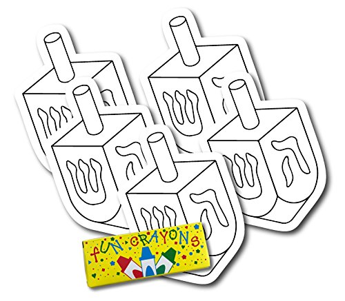 Color Your Own Hanukkah Dreidle Magnets, a Great DIY for You or to Share with Friends, Decorate 5 Magnetic Dreidle Holiday Refrigerator Magnets - with Bonus 4 Pack of -