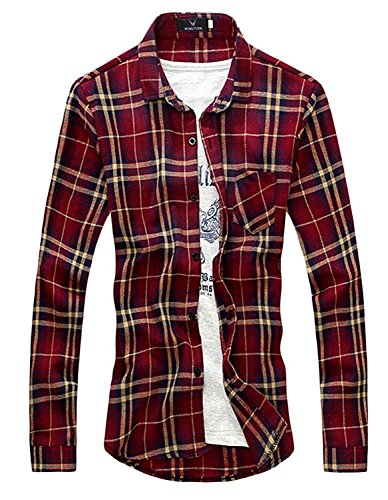 ndy Men's Long Sleeve Plaid Various Colors Wine RedUS Small=China Medium (Andrew Chino Pant)