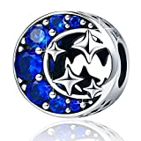 Sterling Silver ''Starry Sky'' Moon and Star Bead Charm,I Love You to the Moon and Back Charm for Bracelets